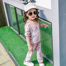 Girls  Clothing Set  Pink Velvet Cashmere Suit Set Long Sleeve Pullover+ Pants Sportswear Baby Girls Sports Clothes Active Suits