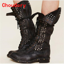 Choudory Super Lace Up Genuine Leather Overknee Black Thigh High Boots Studded Botas Mujer Cowboy Boots Shoes Woman Stockings