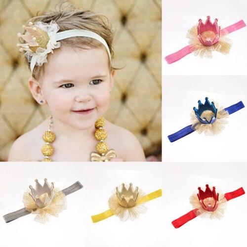 Baby Kid Flower Crown Garland Headband Birthday Party Sparkly HairBand Headwear