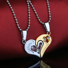 2PCS I Love You Gold Silver Plated Two Heart Pendant Necklace Charm Crystal Statement Jewelry Lover Couple Party Choker Bijoux
