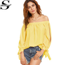 Sheinside Split Bow Tie Sleeve Bardot Top Women Tunic Blouses 2017 Yellow Sexy Off Shoulder Summer Tops New Holiday Beach Blouse(China)