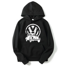 Top quality COTTON o neck VW print blend Hoodies with Hat fleece casual loose mens hoodies and sweatshirts(China)