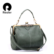 REALER brand retro handbag women messenger bags female small shoulder bag artificial leather tote bag green hasp clutch
