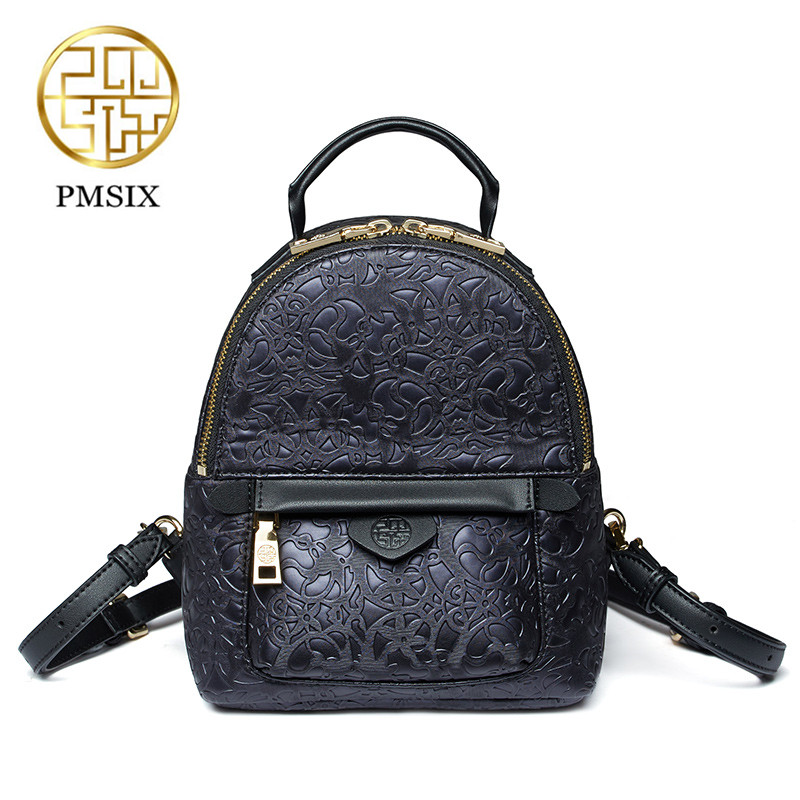Pmsix 2018 Black Fashion Embossed Shoulder Bag New Women PU Leather Mini Backpack Small Bag Multi-Function mochila feminina<br>