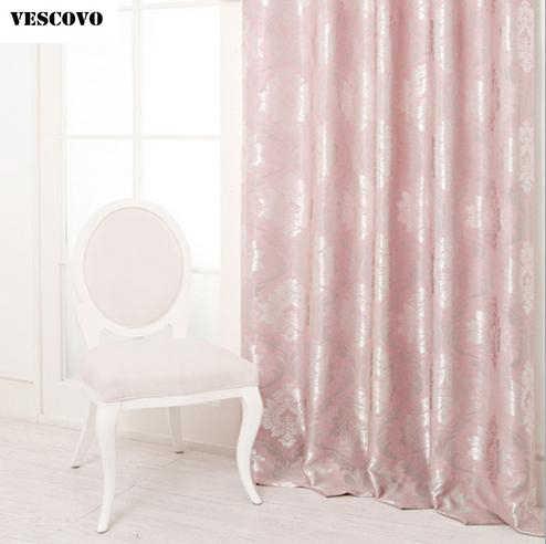 VESCOVO Pink curtains jacquard window curtain for girls bedroom roman 2016 new