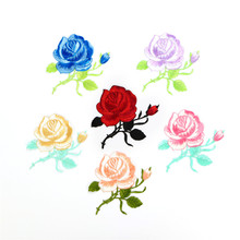 Rose Flower Embroided Iron On Applique Patch Sewing Clothing Sticker Sew Craft(China)