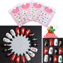 10pcs 3D Nails Art Stickers New 2016 Christmas  Nail Sticker Santa Claus Designs Unhas Women DIY Christmas Decorations For Home