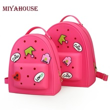 Miyahouse Graffiti Jelly Backpack Women Designer Girls Pink Backpack Travel Bags Children Bookbag Small Candy Color Backpacks