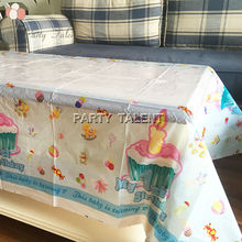Party supplies only 1pcs boy baby 1st birthday blue theme party, birthday party decoration table cover one-off table cloth