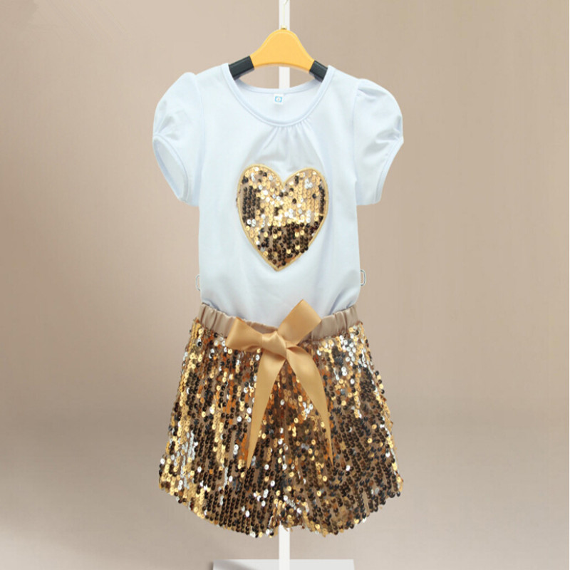 Gold Sequin Set ,sequins heart tshirt Girls Clothing,7years kids Clothes ,Sequin short sleeve shirt with gold sequin short set<br><br>Aliexpress