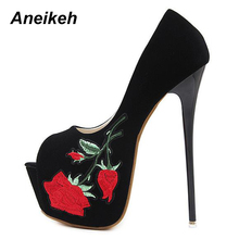 Aneikeh Summer Women 16cm High Heels Shoes Thin Heels Peep Toe Black Platform PUMPS With Red Flower Embroidery Basic Shoes(China)