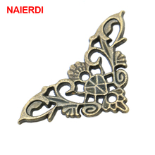 4PCS NAIERDI Bronze Jewelry Box Book Butterfly Corner Bracket Antique Frame Accessories Notebook Menus Decorative Protector