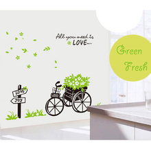 Romantic Fresh Green Leaf Flower Basket Bike Love Wall Stickers for Kids Room Nursery Bedroom Wallpaper Removable Home Decor