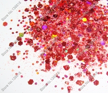 50gram x Laser Red Color Glitter Mixed Hexagon Powder Shape for DIY Nail Art  Decorations and Glitter Crafts