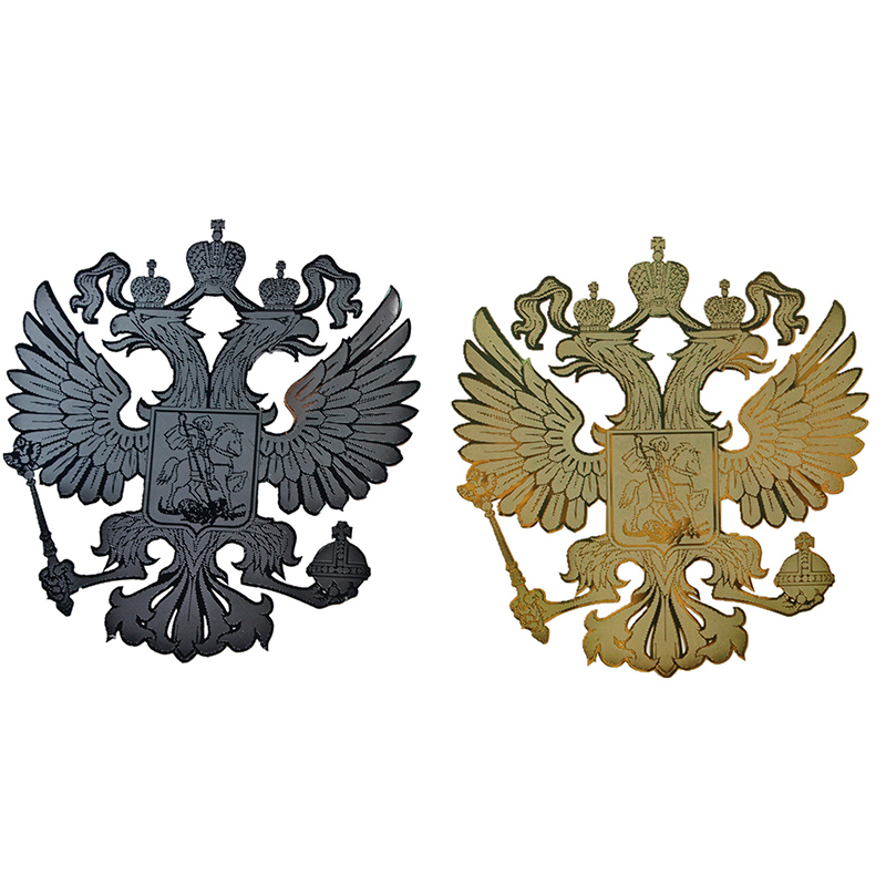 1pcs GOLD and SILVER Coat of arms of Russia car body metal sticker Russian Eagle Decal Decoration stickers Emblem(China)