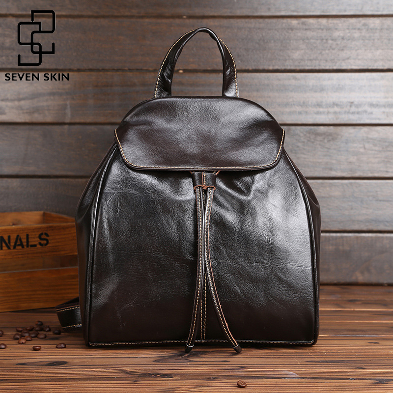 Genuine Cowhide Leather Women Backpacks Fashion Design Female Casual School Bag for Girls Famous Brand Mini Small Vintage Bags<br>