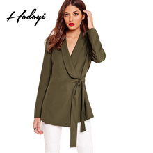 Hodoyi Women Fashion Blazers Street Waist Drawstring OL Basic Outwears Natural V Neck Green Female Casual Autumn Coats 2017