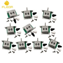 FLEOR 10pcs 5 Way Guitar Pickup Selector Switch with Black/White Tips for FD ST Style Guitar Replacement(China)