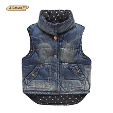 Fashion Girls/Boys Denim Vest Baby Children's Jeans Waistcoat Clothes Sleeveless Kids Autumn/Winter Brand Dot Lined Jacket Coats