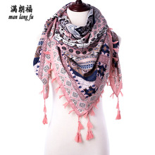 High Quality Pink Warm Military Windproof Scarf Women Square Scarves Female Wraps Winter Autumn Printed Girl Shawl Arab Scarves(China)