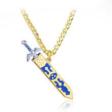 rongji jewelry New fashion Legend of Zelda Removable golden and silver Master Sword Sheath long Men Necklace pendant
