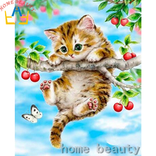 3D diamond pattern Diy painting animals cat picture of rhinestones pasting decorative painting embroidery mosaic paint AB373(China)