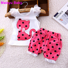 Europe 2016 new summer children clothing set baby girls bow cat shirt + shorts suit 2pcs kids polka dot clothes suit 1-4 years(China)