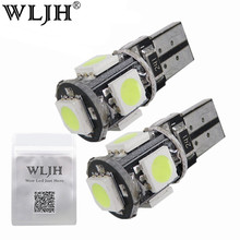 Buy WLJH 10x White T10 5050SMD 5 LED Error Free Canbus W5W 194 168 2825 Car Lamp License Plate Light Bulbs Parking Light Wholesale for $6.19 in AliExpress store