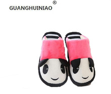 Cotton slippers female winter lovers cute cartoon panda indoor antiskid fluffy slippers for men and women at home