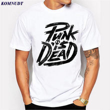 KOMNUDT 2017 New Fashion Punk Is Dead T shirt Brand Clothing Hip Hop Letter Print Men T Shirt Short Sleeve Anime High Quality T(China)