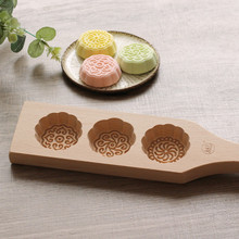 2017 New Baking tools Handmade 3 holes wooden Cake Tools pasta / pastry / pumpkin pie/moon cake mold-Fan Shape Flower pattern(China)