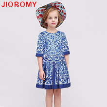 Girls Dresses Spring Children's Clothing National Winds Cheongsam Kids Princess Dresses Blue and White Porcelain