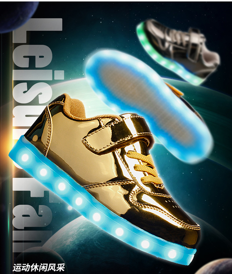 25-37 Size USB New Charging Led Children Shoes With Light Up Kids Casual Boys&Girls Luminous Sneakers Glowing Shoe Mesh surface