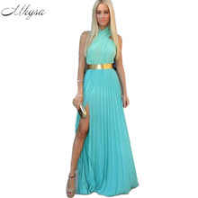 Buy Mhysa 2018 New summer women's dresses Sexy chiffon sleeveless bridal dress plus size solid floor length Beach dresses H263 for $16.13 in AliExpress store