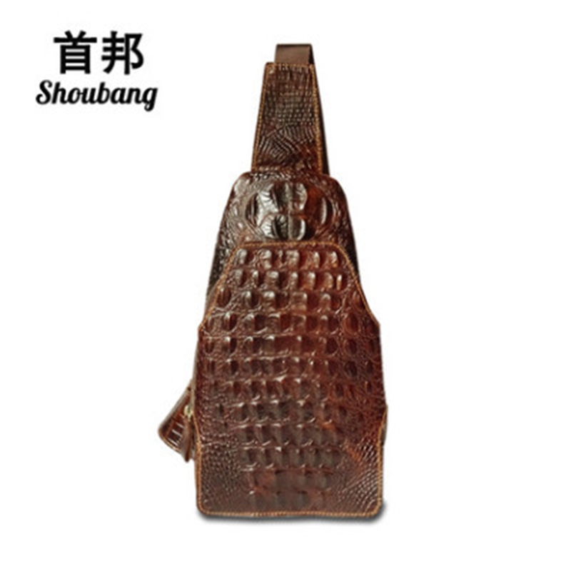 SHOUBANG Fashion Genuine Leather Men Bag Brand Alligator Leather Vintage Crossbody Bags Famous Brand Small Mens Messenger Bag<br>