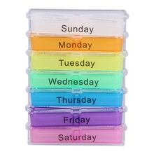 Unique Colorful Design Medicine Weekly Storage Pill 7 Day Tablet Sorter Box Container Case Organizer 2017 Fashion Healthy(China)