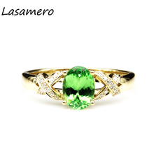 LASAMERO Ring For Women1.14CT  Certified green Garnet Ring Accents 18k Gold Real  Engagement Wedding Ring