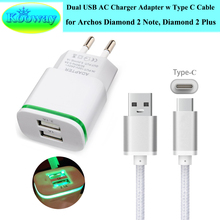 Dual USB EU Plug Wall Charger Adapter, USB 3.1 Charger Cable for Archos Diamond 2 Plus Travel Charger, Type C Charging Cable