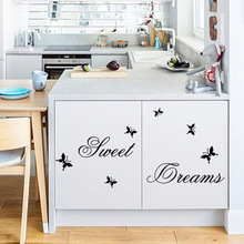Creative Sweet Dreams Butterfly Black English alphabet DIY Removable Wall Stickers Living Room Home Decor Mural Decal ZY2002(China)