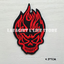 3pcs DEVIL SKULL HEAD LOGO Patches for Clothing Jacket Bag Motorcycle HAT Appliques Garment Iron Sew on patches Vest sticker(China)