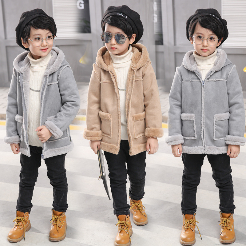 2017 Korean Boys Winter Wool Coat Khaki Gray Kids Woolen Jackets Warm Boy Fashion Thicken Children Chamois Leather Plush Coat<br>
