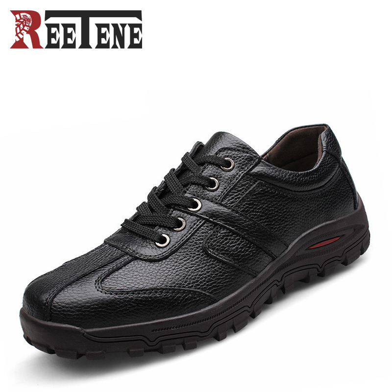 New Genuine Leather Casual Men Shoes Lace-Up Large Size 38-48 Cowhide Male Flats Spring Autumn Low-cut Soft Comfortable Shoe<br>