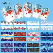 12Designs in 1 Christmas Nail Art Water Transfer Stickers Beauty Full Wraps Watermark Nail Tips Decals Manicure Decor LBN205-216(China)
