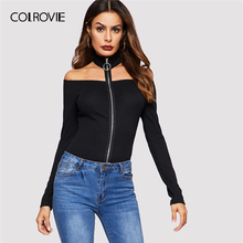 Buy COLROVIE Black Solid Zip Halter Shoulder Casual T-Shirt Womens 2019 Spring Fashion Long Sleeve Tee Ladies Sexy Tops