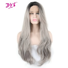 Deyngs Long Wavy Black Root Ombre Grey Lace Front Wig Synthetic Hair For Black Women Half Hand Tied With Natural Hairline(China)