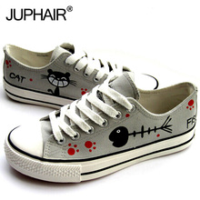 JUP Shoe Women Gir Boy Despicable Me Minion Cat Spongebob Princess Hand Painted Canvas Shoes Female CouplesTo High Fashion Black(China)