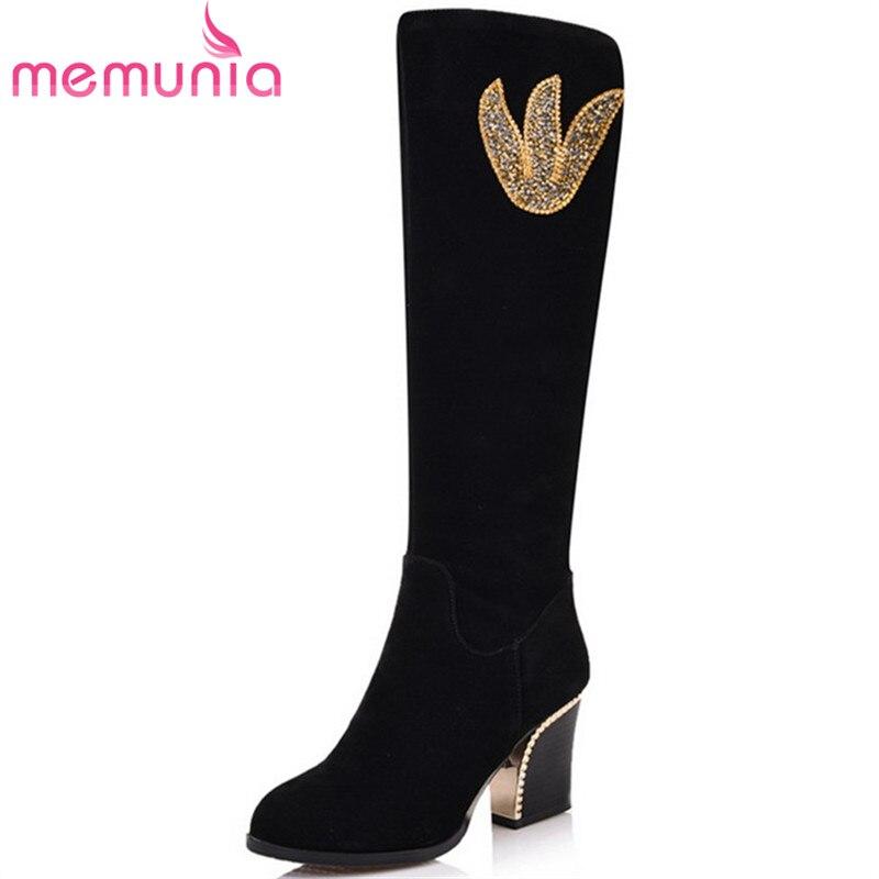 MEMUNIA Plus size 34-43 high heels shoes knee high boots for women long shoes autumn winter fashion boots flock zipper<br>
