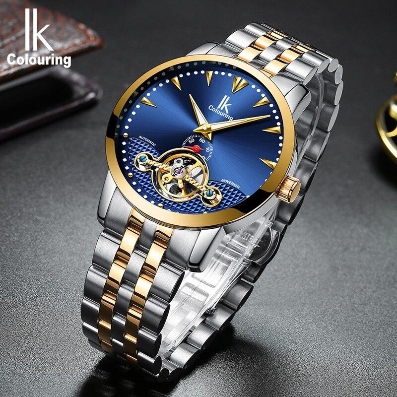 IK  Skeleton Tourbillon Mechanical Watch Mens Fashion Waterproof Full First Brand Mens Business Watch Steel Watch Mens W<br>