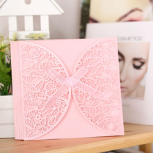 10Pcs Romantic Wedding Party Invitation Card Envelope Delicate Carved Butterlies Pattern Hollow Out Wedding Invitation Envelope