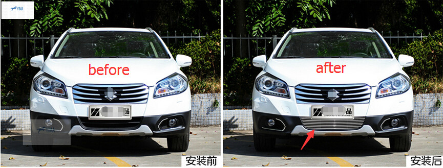 stainless steel Bottom Front Grill grilles Racing Grills Trim 1pcs For Suzuki sx4 s-cross 2014 <br><br>Aliexpress